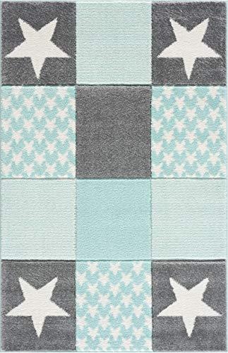 Livone Moderner Teppich Kinderzimmer Kinderteppich mit Sternen in Mint Grün Grau Silber Weiss Grösse 110x170 cm