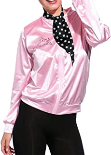 Satin Laides Pink Jacket 1950s Costume Halloween Outfit with Scarf