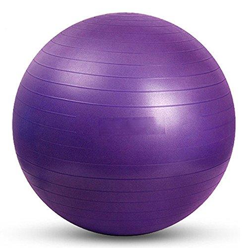 YUUWA バランスボール45cm/55cm/65cm/75cm ヨガボール アンチバースト仕様ポンプ付き! ダイエット エクササイズ 全4カラー (パープル, 45)
