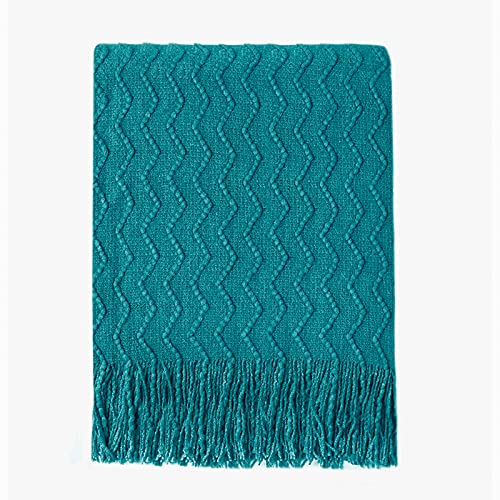 """Bourina Throw Blanket Textured Solid Soft Sofa Couch Decorative Knitted Blanket, 50"""" x 60"""" Teal"""