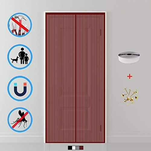 Aibingbao Mosquitera Puerta Magnetica 140x210cm(55x83inch) Fácil de ensamblar Mosquitera Magnética Se Cierra Magnéticamente al Instante para Balcón Puerta Corredera de Patio, Marrón