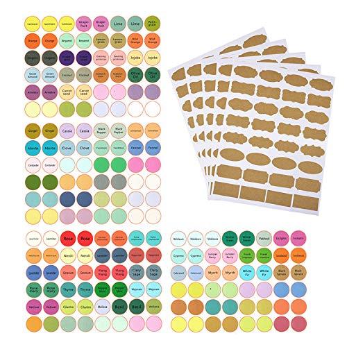 192 stuks etiketten voor etherische olieflessen en 92 stuks blanco stickers van kraftpapier voor flessen met essentiële oliën