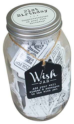 Top Shelf 21st Birthday Wish Jar ; Unique Gift Ideas for Daughter, Son, Sister and Brother ; Memorable Gifts for Men and Women ; Kit Comes with 100 Tickets and Decorative Lid