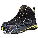 LARNMERN Zapatos de Seguridad Hombre S3 Impermeable Zapatillas de Trabajo SRC Anti-Deslizante Puntera de Acero Zapatos Calzado de Industrial Talla 46 EU Acero Negro
