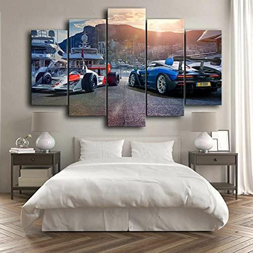 F1 Formula Cars foto 5 piezas lienzo pared arte impresión decoración del hogar imágenes HD 5 paneles póster pinturas Hotel cabecera fondo decoración pinturas