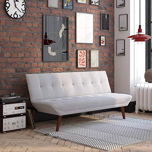 DHP Adley Small Space Modern Convertible Sofa Bed, Light Gray Linen Futon