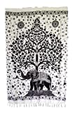Goods4good Pareo Grande 165x112cm Playa Piscina Mujer/Hombre con diseño de Mandala Elefante Arbol de la Vida Multicolor 100% Viscosa (Blanco y Negro)