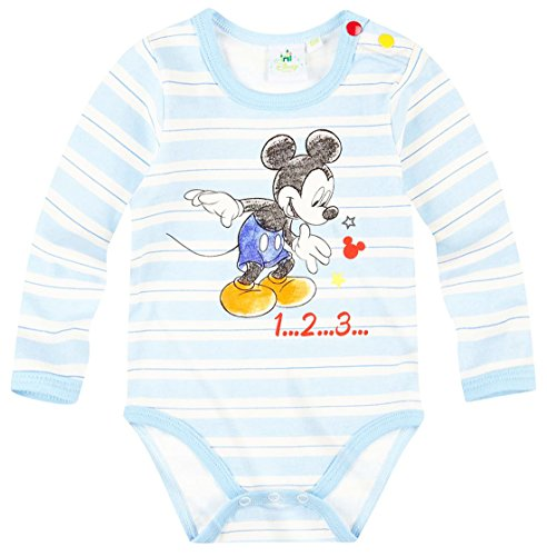 Body manches longues bébé garçon Mickey Rayé Blanc/bleu de 3 à 24mois (18 mois)