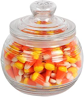 Glass Candy Jar with Ribbed Accents and Tight-Sealing Lid, 19 oz., 4.5 inches diameter