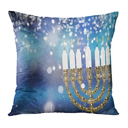 Moladika Throw Pillow Cover Square Hanukkah Burning Candles Purple Blue Cushion Home Decor Living Room Bedroom Office Polyester Pillowcase 18 x 18 Inch