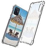 guchaolu Compatible con Samsung Galaxy A71 5G Modelo Funda de Teléfono con Mar, Tumbonas de Madera Orientales Océano Oriental bajo un paraguas de paja en