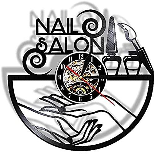 thetobea Salón de uñas Disco de Vinilo Reloj de Pared salón de...