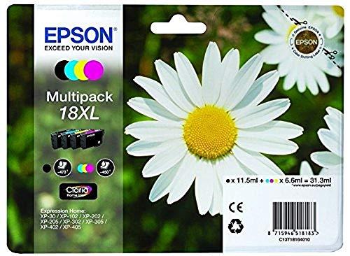 Epson Multipack 18XL Pâquerette, Cartouches d'encre d'origine XL Haute capacité, 4 couleurs: Noir, Cyan, Magenta, Jaune, XP-30 XP-102 XP-202 XP-215 XP-225 XP-302 XP-312 XP-325 XP-405 XP-412 XP-425