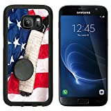 Luxlady Samsung Galaxy S7 Aluminum Backplate Bumper Snap Case Hockey Equipment Including a Stick and Puck on an American Flag to infer a Patriotic Americ