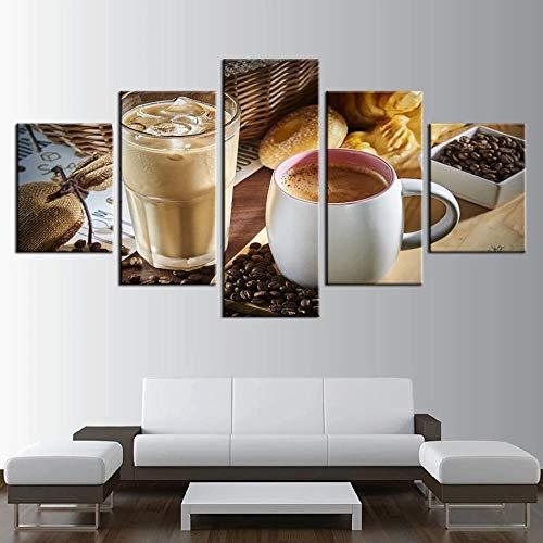 SYLZBHD Leinwand HD Drucke Bilder Wohnkultur 5 Stück Dämpfende Kaffeetasse Kaffeebohnen Gemälde Küche Wandkunst Lebensmittel Poster 30x40 30x60 30x80cm Kein Rahmen