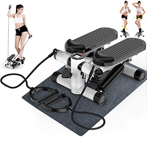 Mini-Stepper, Steppmaschine Haushalt leise Twist Fitnessgerät mit Widerstandsbändern, geeignet für Wohnzimmer, Büro, Fitnessstudio, a