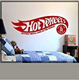 Wheels Logo Vinyl Wall Decal Room Home Art Decor Wall Decor Hot And Wheels Original Decal Logo Room Dormitorio Decoración Stickers 124X42Cm