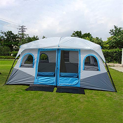 Gulugulu Large Camping Tent Outdoor Large Family Tent 8-12 People Party Tent Waterproof Cabin Camp UV Protection Tent Tent (Color : Blue)