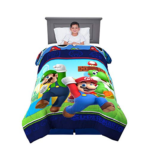 "Franco Kids Bedding Soft Comforter, Twin Size 64"" x 86"", Super Mario"