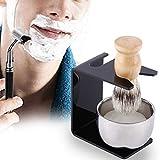Soporte para brocha de afeitar, kit de brocha de afeitar 4 en 1 para hombres, nuevo kit de afeitado negro para hacer espuma, jabón y crema de afeitar