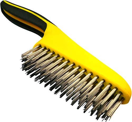 AERZETIX - Cepillo de alambre con 4 filas - Longitud 265mm - Pelos de Acero - Raspador manual - Mango de plástico bimaterial - Herramienta para limpiar/decapado/lijar/soldar/óxido/abrasivo - C45952