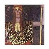 Pallas Athene Canvas Art Paintings de Gustav Klimt Kiss Wall Art Canvas Prints Reproducciones para Sala de Estar Decoración de Pared -24x24 Pulgadas Sin Marco