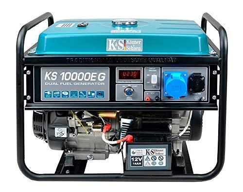 Könner & Söhnen KS 10000E G 4-Takt Benzin-LPG Hybrid Stromerzeuger, Notstromaggregat 7500 Watt, 1x16A 1x32A 230V Generator mit automatischem Spannungsregler, E-Start, Digitale Anzeige