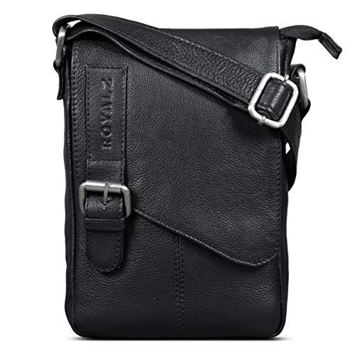 ROYALZ Leder Umhängetasche Klein für Männer Herren Ledertasche Mini Seitentasche Vintage Look Tasche zum Umhängen, Farbe:Schwarz