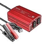 BESTEK カーインバーター 300W シガーソケット 車載充電器 USB 2ポート ACコンセント 2口 DC12VをAC100Vに変換 MRI3010BU(バッテリー接続コードあり)