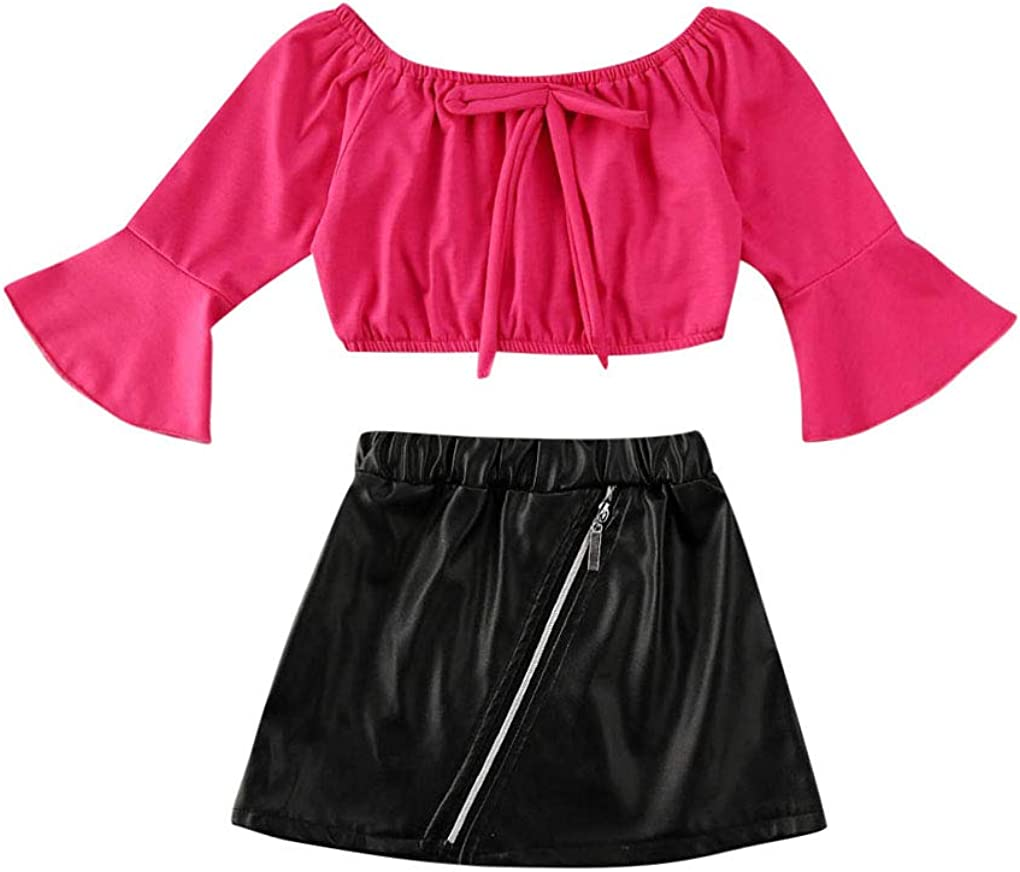 2Pcs Crop Tops and Skirts Sets OFFicial site Girl Ultra-Cheap Deals Flare Little Sleeve Toddler