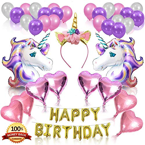 Unicorn Party Supplies Set - Glitter Unicorn Headband Unicorn Balloons Gold Happy Birthday Banner Latex and Foil Balloons Decorations Kit For Kids 36 Value Pack