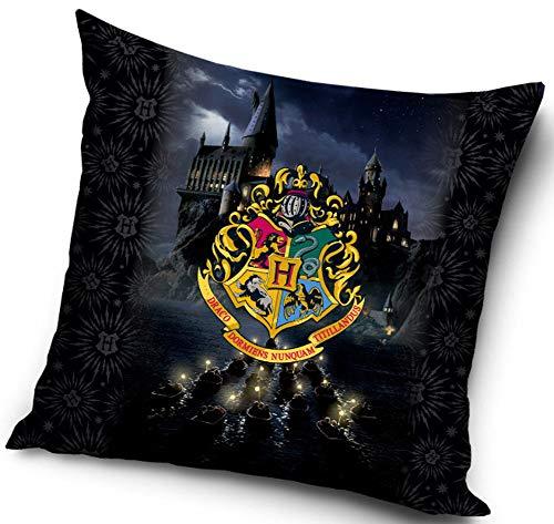Harry Potter - Federa per cuscino, 40 x 40 cm, Poliestere, Stemma blu giallo, 40 x 40 cm