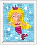 Vervaco Stickpackung Meerjungfrau, Stickbild vorgezeichnet Paquete de imágenes de bordado, algodón, multicolor, 12.5 x 16.0 x 0,3 cm