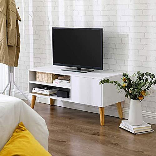 Fernsehtisch Weiß TV-Einheit Holz TV-Schränke TV Tisch Modern TV Möbel TV Lowboard TV Board Minimalistisches Fußmetall mit Regalen und Kabellöchern Regal für Wohnzimmer Schlafzimmer 100x40x50cm