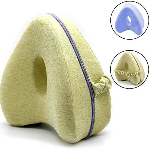 Covok Gambe-kussen kniekussen in hartvorm, gambe/Dellanca/Ginocchio ondersteuning, ter verlichting van de zenuwen, Ridurre Dolore,wasbare Federa, grijs