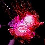 ほんのり香る100% プリザーブドフラワー ギフト アレンジ [アロマピュア] (LED(光るバラ))