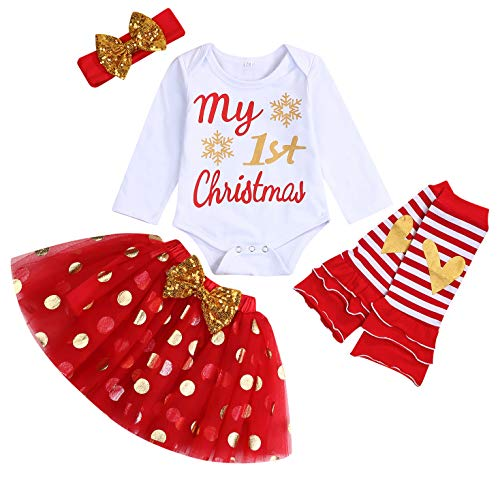 My First Christmas Clothes Baby Girls My 1st Christmas Romper Top+Dot Tutu Skirt+Leg Warmers+Headband 4Pcs Outfit Set (Red, 3-6 Months)