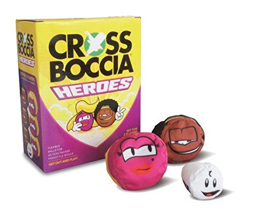 Crossboccia Doublepack Heroes, 2 x 3 stoffen zakjes in dezelfde kleur, verschillende designs, 8 cm met granulaat gevuld, set voor 2 spelers, incl. doelbal, in 4-kleuren doos met regelmechanisme
