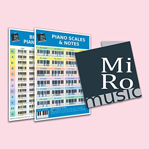 A4 Beginners/Learners Piano Chord & Scale Chart Card, Double Sided