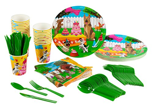 Blue Panda Disposable Dinnerware Set - Serves 24 - Dogs Theme Party Pack - Includes Plastic Knives, Spoons, Forks, Paper Plates, Napkins, Cups
