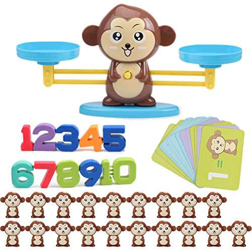 Queta Montessori Mathe Waage Spielzeug, Cartoon Tier Balance Skala Math Spiel, Mathepädagogische Spielwaren der Affenbalance frühen Bildung, Toys für Kinder Rechnen Lernen