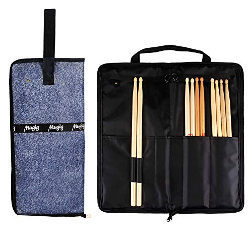 Mugig Drumstick Bags,Large capacity Waterproof Mallet Bag with Handle, Portable Drum Sticks Bag Holder, Support at least 12 Pairs Drum Sticks & Sheet music and Small Accessorie (Denim Blue)