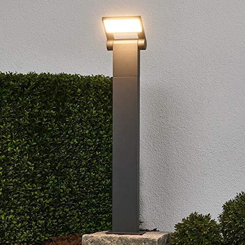 Lampada LED da esterni 'Marius' (Moderno) colore Grigio, in Alluminio (1 luce, A+) di Lucande | lampioncino, paletto luminoso, lampada da viale, lampione