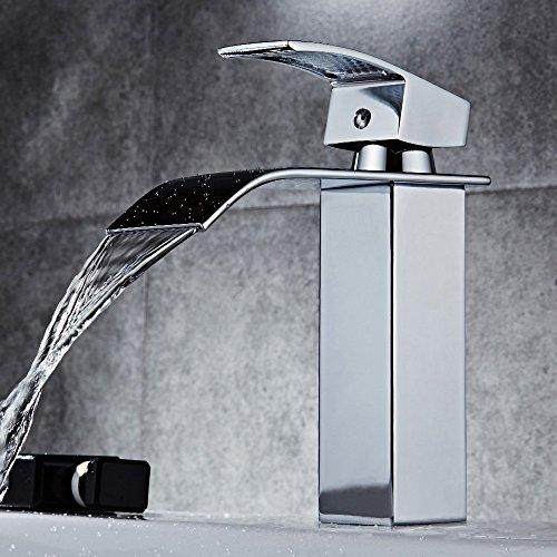 Grifo monomando para lavabo de cascada (latón cromado, sin plomo)