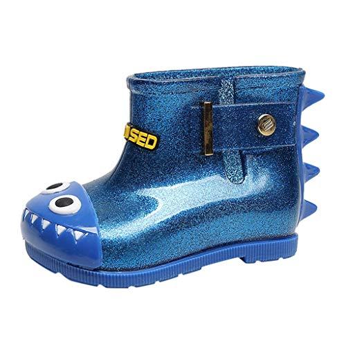 Bottes de Pluie Enfant Fille Chaussures Imperméables Bébé Garçon Bottes Caoutchouc Antidérapant Mignon 3D Bottines de Dinosaure pour Maternelle et Primaire Tyoby(Bleu,27)