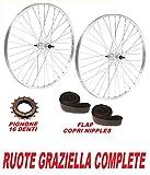 CicloSportMarket Coppia Ruote Ideali Bicicletta GRAZIELLA 20' + PIGNONE 16 D + Flap Copri Raggi Omaggio
