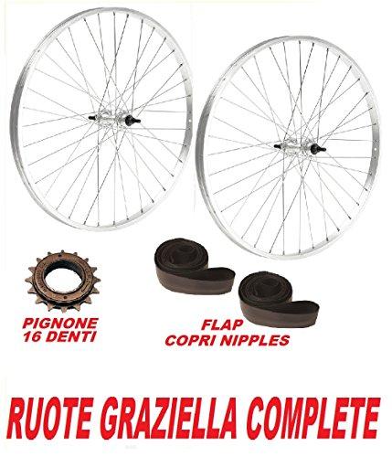 COPPIA RUOTE ideali bicicletta GRAZIELLA 20' + PIGNONE 16 D + FLAP COPRI RAGGI OMAGGIO