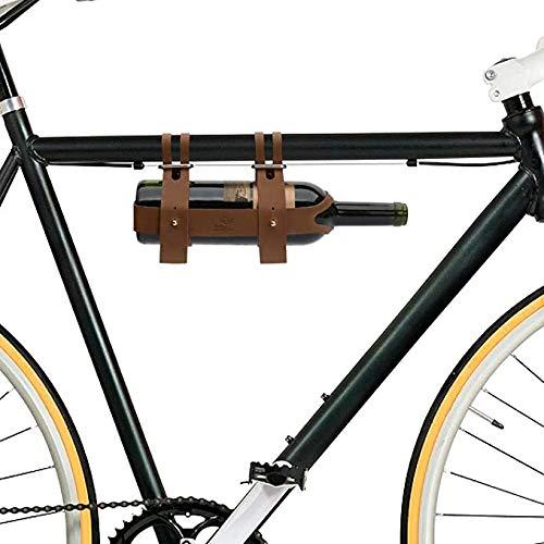 YYFF Botellero Bicicleta DE Cuero Botella DE Vino Portabotellas Ideal para Ciclistas Que Toman Vino en un Picnic o excursión de un día