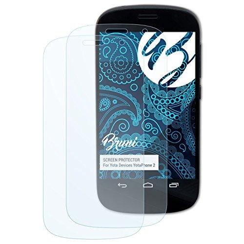 Bruni Schutzfolie kompatibel mit Yota Devices YotaPhone 2 Folie, glasklare Bildschirmschutzfolie (2X)