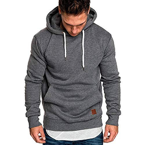 Herren Slim Fit Hoodies MäNner Oversize Casual Langarm Pullover Tops Herbst Winter Solide/Print Lose Kapuze Fleece Sweatshirt(Dunkelgrau,4XL)